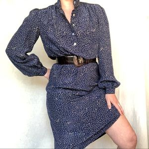 VTG Silk Floral Puff Sleeve Midi Shirt Tunic Dress